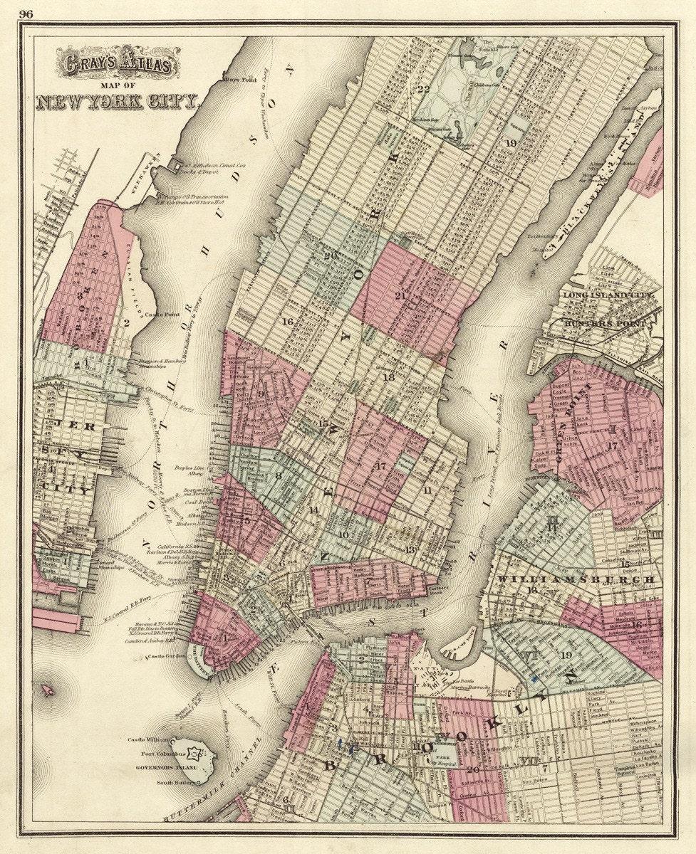 Vintage Map New York City New York 1873