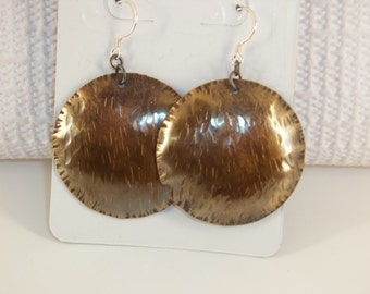 Hand Textured Brass & Sterling Silver Earrings