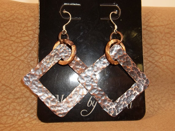 Hammered 1 1/4 inch square Antiqued Copper earrings with Sterling Silver ear wires