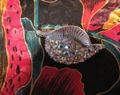 Vintage Pin Aurora Borealis Rhinestone Shell Brooch Silvertone
