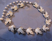Vintage Coro White Leaf Necklace Silvertone Enameled
