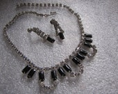 Necklace Earrings Vintage Black Glass Baguettes Clear Rhinestones LaRel