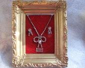 Vintage Display Rhinestone Necklace Earrings Screwbacks Price Tag Original Plastic Frame