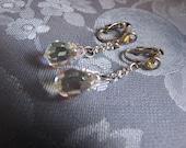 Vintage Aurora Borealis Crystal Earrings Silvertone Clips