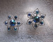 Vintage Earrings  Aurora Borealis Blue RhinestoneWhite Enamel Clip
