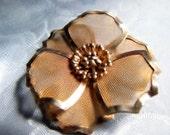 Vintage B. E. D. Mesh Flower Brooch Pin Steampunk Industrial