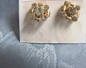 Vintage Rhinestone Goldtone Earrings Screwbacks