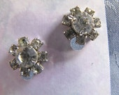Vintage Headlight Rhinestone Earrings Screwbacks