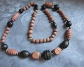 Necklace Vintage Wooden Beads Chunky Black Natural Blocks