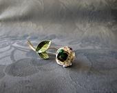 Avon Vintage Nina Ricci Flower Pin Green Rhinestone Silvertone