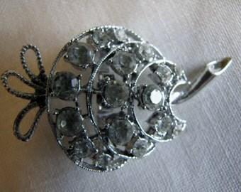 Vintage Brooch Clear Rhinestones Prong Set Pin