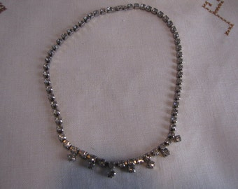 Vintage Rhinestone Necklace Single Strand Drop Petite Fringe