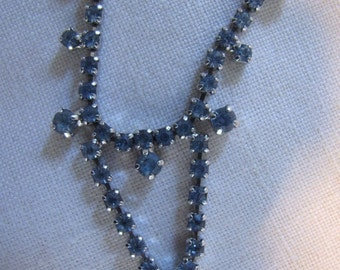 Baby Blue Vintage Rhinestone Necklace