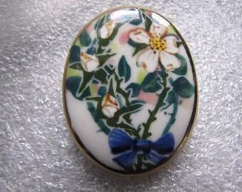 Vintage Brooch Handpainted Roses Ceramic Pin Signed