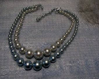 Vintage Big Baby Blue Beads 2 Strand Necklace