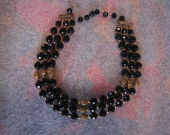 Vintage Three Strand Black Beads Gold Filligree Spacers Necklace