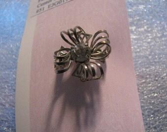 Tiny Vintage Rhinestone Bow Brooch Pin