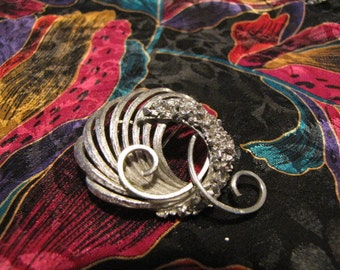 Vintage Brooch Classic Abstract Design Brushed Texturized