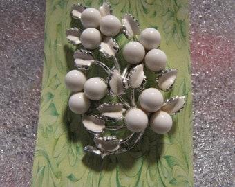 Enameled Pin White Milk Glass Brooch Floral Design