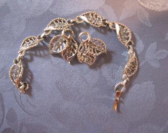Vintage Bracelet Earrings Rhinestones Light Blue Leaf Design clip ears