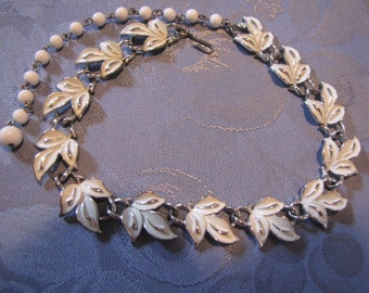 Vintage Coro White Leaf Necklace Silvertone Enameled
