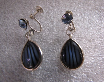 Vintage Earrings Blue Rhinestone Striped Blue Screwbacks