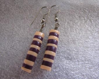 Vintage Purple Pink Plastic Earrings