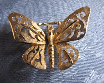 Vintage Brooch Goldtone Brushed Butterfly Pin Openwork