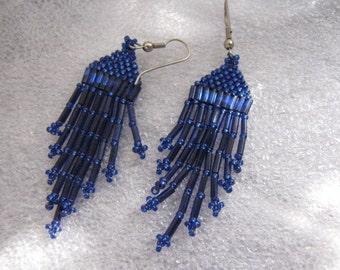 Vintage Southwest Beaded Earrings Blue
