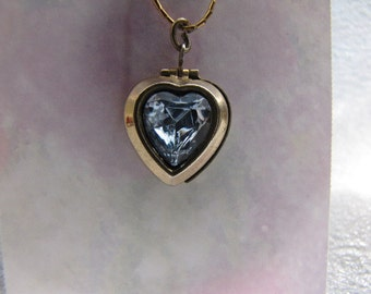Vintage Locket Heart Pendant Light Blue Rhinestone