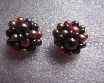 Beaded Vintage Earrings Chocolate Brown Copper