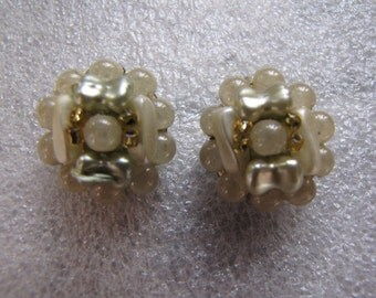 Vintage Clip Earrings Bead Button Pale Green