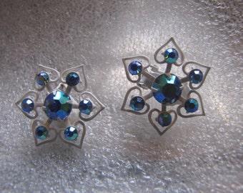 Vintage Earrings  Aurora Borealis Blue RhinestoneWhite Enamel Clip