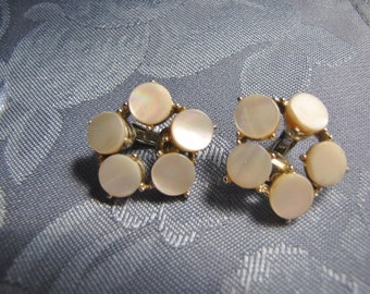 Vintage Earrings Coro Simulated Mother of Pearl
