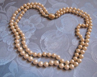 Vintage Faux Pearls Double Strand Necklace