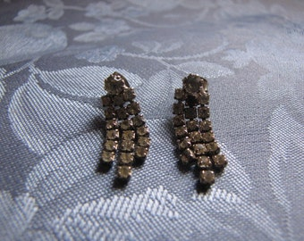 Rhinestone Earrings Vintage Three Strands Pierced
