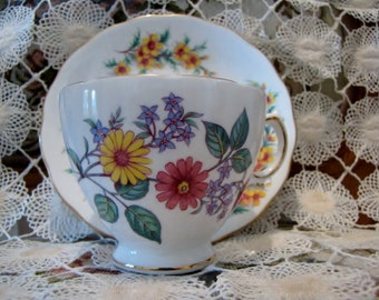 Vintage Tea Cup Saucer Mayfair Made in England Flowers China