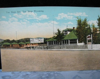 Vintage Linen Postcard Ten Sleep Inn Ten Sleep WY Wyoming