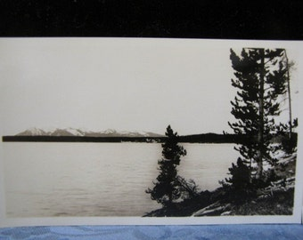 Antique Photos Yellowstone Park 1930s Mt Sheridan Yellowstone Lake Geyser Reflection 1930s Haynes