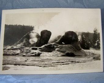 Antique RPPC Grotto Geyser Yellowstone Park 1930s Postcard