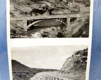 Double Photos Antique Arch Bridge and Road 1930s