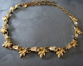 Emerald Cut Vintage Necklace Rhinestones Goldtone Leaf