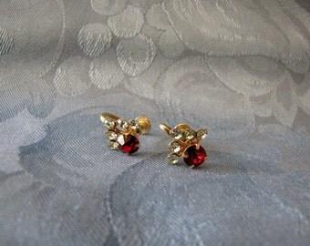 Red Rhinestone Earrings Vintage Screwbacks Clear Rhinestones