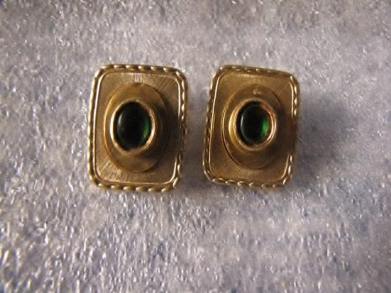 Vintage Oranium Paris Earrings Clip RARE Green with gold
