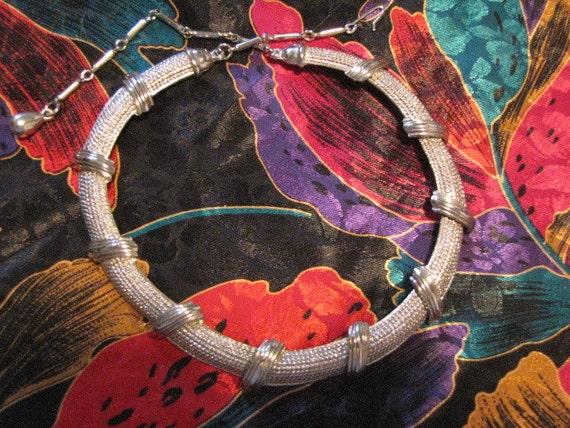 Vintage Collar Necklace Silvertone Steampunk Industrial