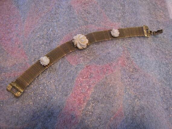 Goldette NY Vintage Mesh Bracelet Roses