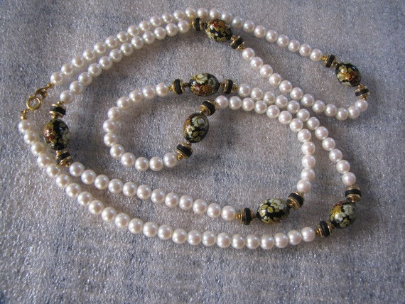 Vintage Cloisonne Art Faux Pearl Necklace