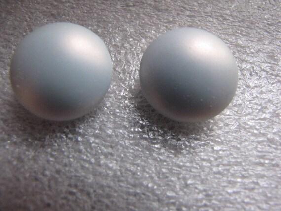 Vintage Earrings Clips Powder Blue Button