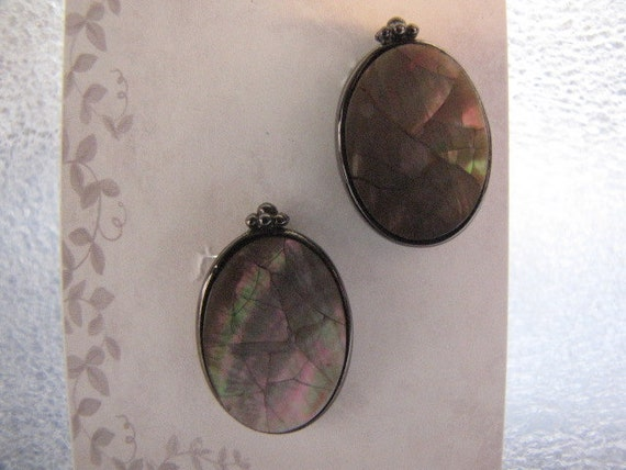 Oval Earrings Vintage Signed Liz Claiborne Sterling Silver Abalone