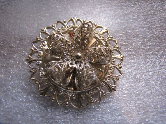 Vintage Round Brooch Silver Filligree Germany Pin